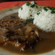 Vepřová kotleta na hřibkách s dušenou rýži recept