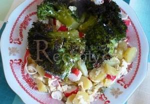 Zapečená brokolice s krabími tyčinkami