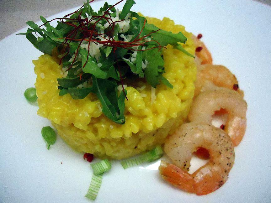 Šafránové rizoto s krevetami recept