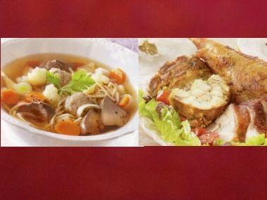 Sváteční oběd 1  Drůbková polévka a krůtí stehno s nádivkou ...