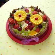 Ovocný dort s čokoládovými trubičkami recept
