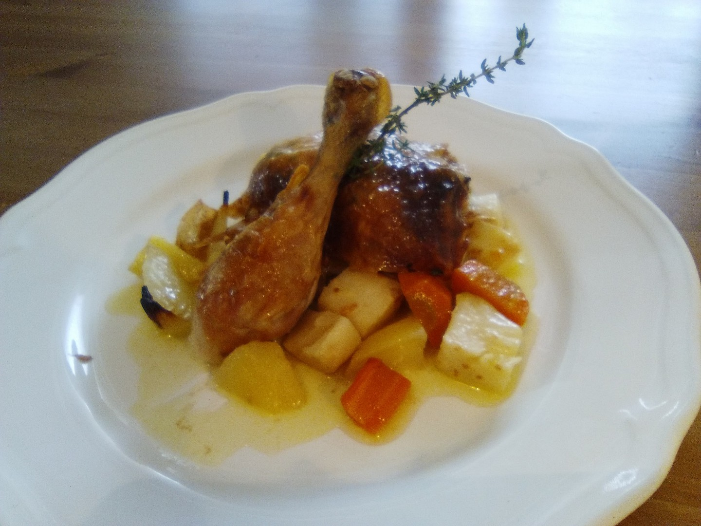 Pečené citrónové kuře s tymiánem a kořenovou zeleninou recept ...