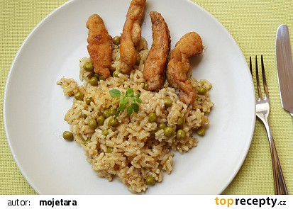 Hráškové rizoto s kuřecími hranolky recept