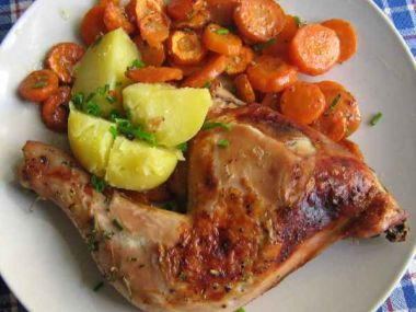 Kuře s mandlemi a mrkví