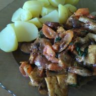 Tofu směs s rajčaty a žampiony recept