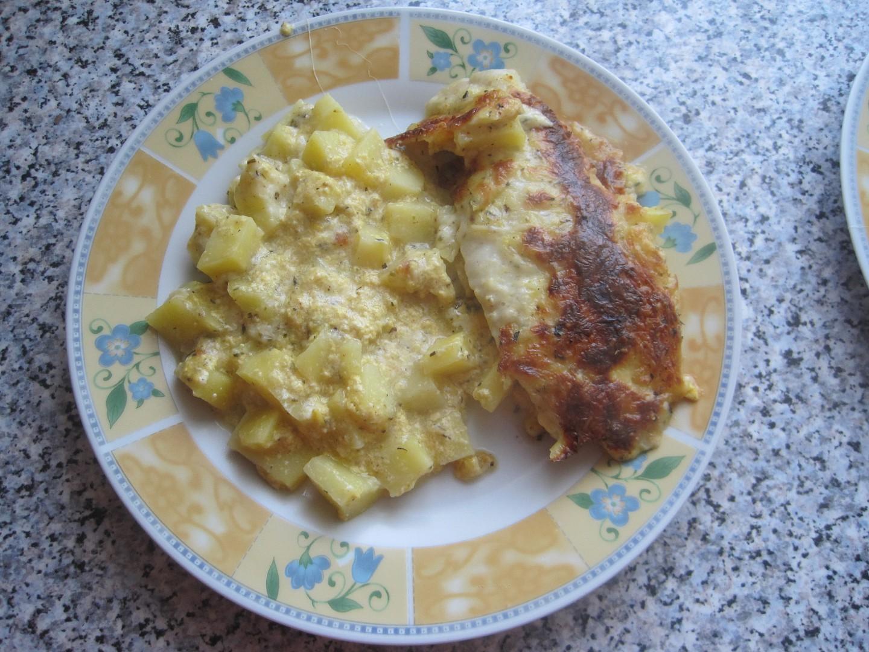 Treska zapečená s bramborem a sýrem recept