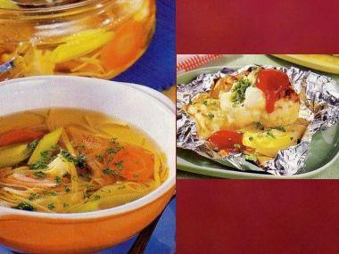 Oběd 92  Nudlová polévka a Květák se sýrem