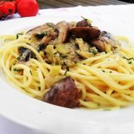 Hříbkové ragú s pórkem a špagetami recept