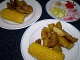 Kukuřičný klas s pečenými brambory – vegan recept