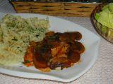 Kuřecí směs s těstovinami a houbami. recept