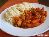 Špagety s kuřecím masem a zeleninou recept