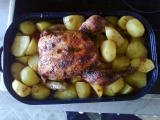 Kuře pečené na jablkách a mrkvi recept