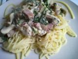 Špagety se slaninou, žampiony a modrým sýrem recept ...