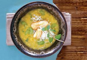 Celerová polévka s rybou