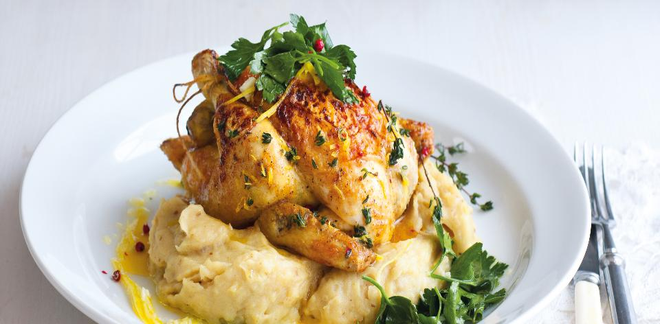 Pečené jarní kuře s bramborovou kaší s houbami