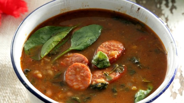 Fazolová polévka se špenátem