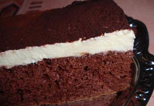 Jogurtovo-kakaový koláč (řezy)