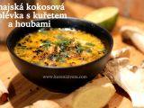 Thajská kokosová polévka s kuřetem a houbami recept ...