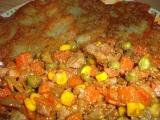Bramborové placky s játry a zeleninou recept