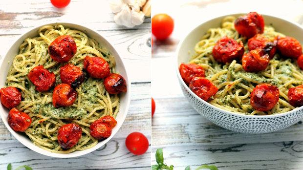 Špagety s pestem a cherry rajčaty
