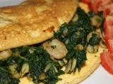 Omeleta s krevetami a špenátem na česneku recept