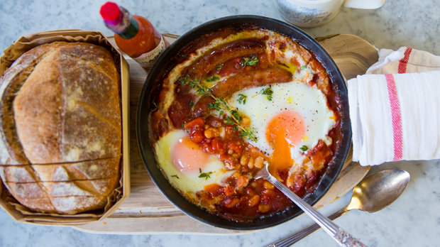 Anglická snídaně z jedné pánve