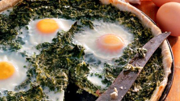 Špenátový quiche se šunkou a vejci