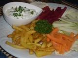 Bylinkový dip s hranolkami a zeleninou recept