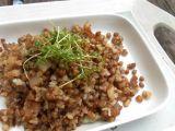 Česneková pohanka s řeřichou recept