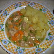 Maso s hráškem a mrkví recept