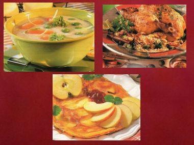 Sváteční oběd 6  Kuře s rýží, krupičková polévka a dezert
