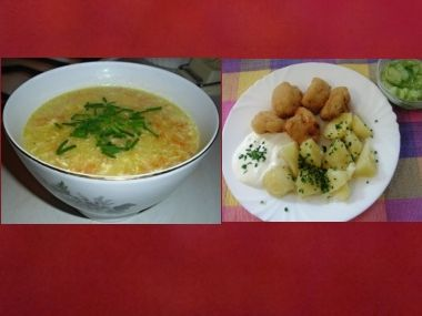 Oběd 42  Kedlubnová polévka a smažený květák