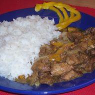 Pikantní vepřové nudličky s rýží recept