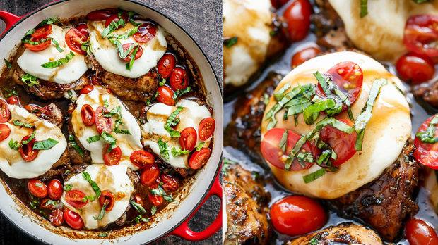 Kuřecí stehna s mozzarellou a rajčaty
