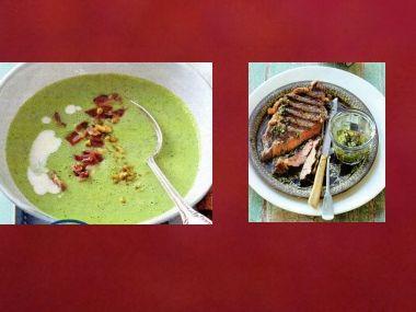 Sváteční oběd 30  Zelené gazpacho a Steak s chimichurri