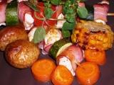 Kuřecí špízy s zeleninou pečené v troubě recept