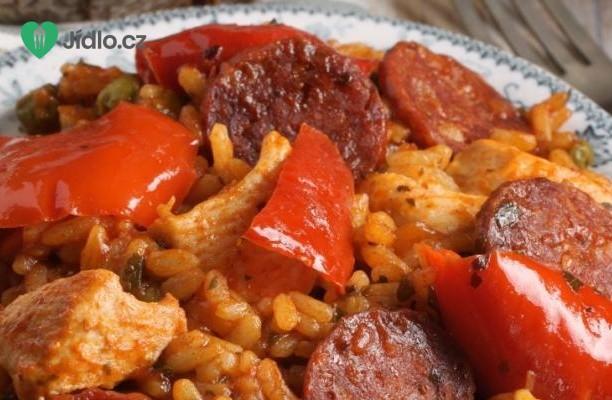 Španělské kuře s chorizem nebo klobásou a rýží recept