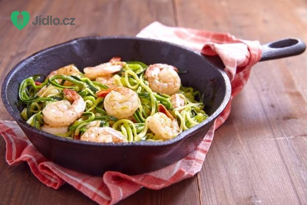 Cuketové špagety s krevetami recept