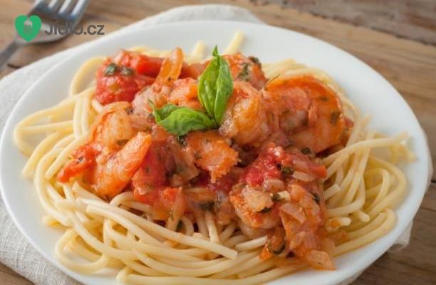 Krevety se špagetami a rajčatovou omáčkou recept