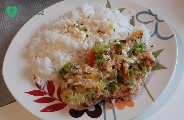 Zapečená vepřová kotleta s rýží recept
