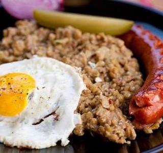 Recept Čočka s uzeninou a vejcem