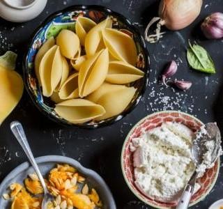 Těstoviny s dýní, sýrem  Ricotta a s bazalkou